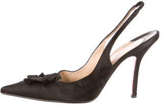 Christian Louboutin Satin Pointed-Toe Pumps $210 thestylecure.com