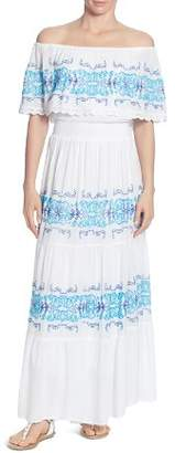 Catherine Malandrino Charise Embroidered Stripe Off-the-Shoulder Dress