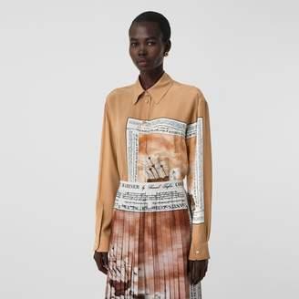 Burberry Mariner Print Silk Oversized Shirt