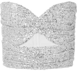 ATTICO Cutout Sequined Tulle Bustier Top - Silver