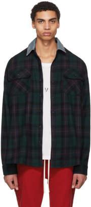 Fear Of God Green Oversized Denim Collared Plaid Shirt