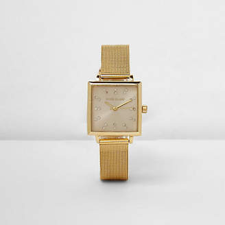 River Island Gold tone mesh strap square face watch
