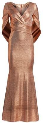 Talbot Runhof Criss-Cross Cape Metallic Gown