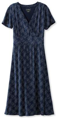 L.L. Bean L.L.Bean Summer Knit Dress, Short-Sleeve Dot