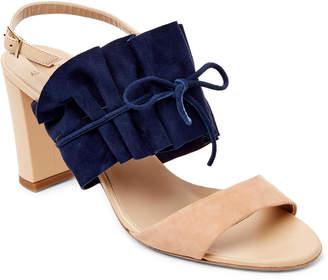 Alexander White Tan & Blue Luisa Block Heel Sandals