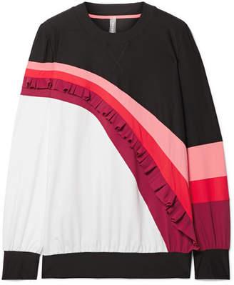 NO KA 'OI NO KA'OI Nalu Nau Ruffled Color-block Stretch Sweatshirt