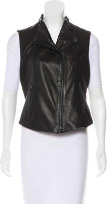 Theory Asymmetrical Leather Vest