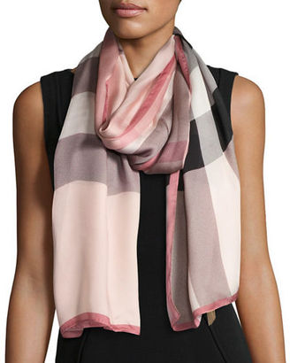 Burberry Mega Check Ultra-Washed Silk Scarf $435 thestylecure.com