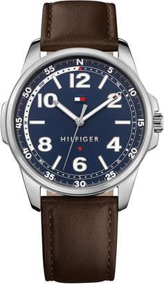 Tommy Hilfiger Men Essential Brown Leather Strap Watch 42mm 1791375