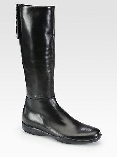 Prada Leather Logo-Detail Boots