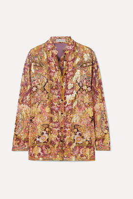 Etro Printed Fil Coupé Silk-blend Georgette Shirt - Plum