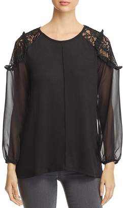 Avec Mixed Media Blouson-Sleeve Top