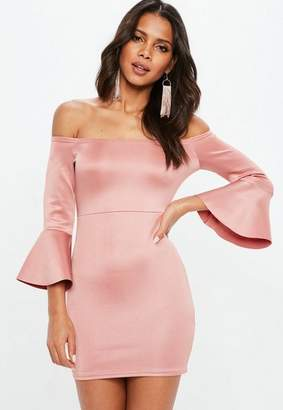 Missguided Pink Metallic Bardot Frill Sleeve Bodycon Dress