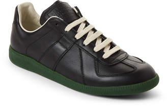 Maison Margiela Black & Green Replica Leather Low-Top Sneakers