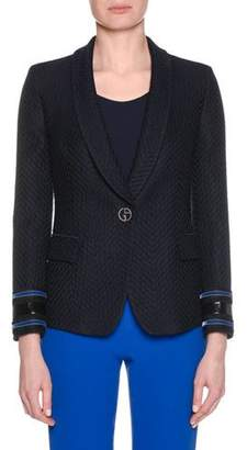 Giorgio Armani One-Button Herringbone Jacquard Wool-Blend Jacket w/ Velvet Cuff