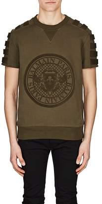 Balmain Men's Flocked-Logo Cotton Sweatshirt