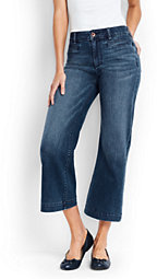 Lands' End Women's Mid Rise Wide Leg Crop Jeans-White $69 thestylecure.com