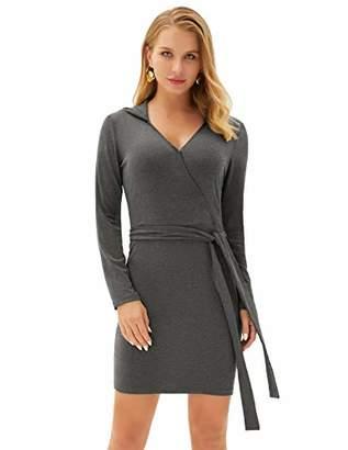 Women Long Sleeve Fit Dress Surplice Elastic Bodycon Stretchy with Belt LA004-2 S
