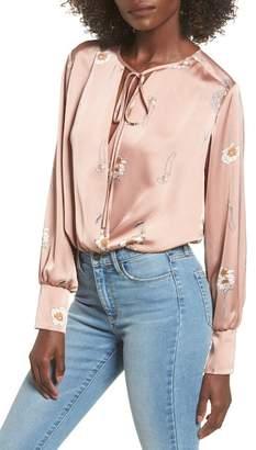 ASTR the Label Gracie Floral Satin Bodysuit