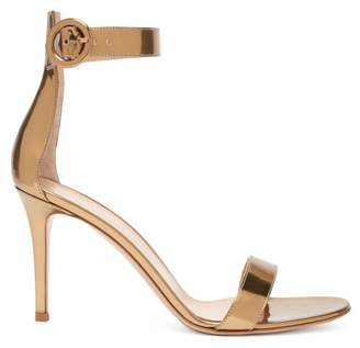 Gianvito Rossi Portofino 85 Metallic Leather Sandals - Womens - Gold
