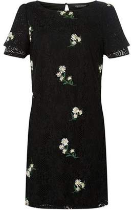 Dorothy Perkins Womens Black Embroidered Lace Shift Dress