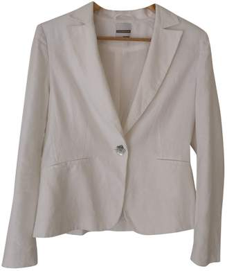 JS Collections White Linen Jacket for Women