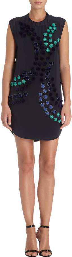 3.1 Phillip Lim Multicolored Fuzz Ball Front Sleeveless Dress