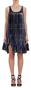 Jourden JOURDEN WOMEN'S RUFFLE PLAID VELVET DRESS