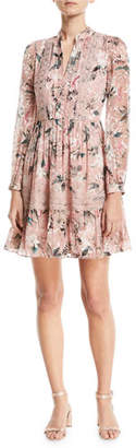 Kate Spade Botanical Chiffon Silk-Blend Mini Dress