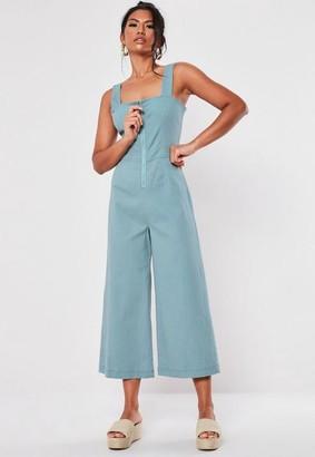 Missguided Tall Blue Zip Through Culotte Romper