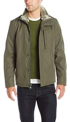 Andrew Marc Men's Kips Bay City Rain Jacket With Faux Fur Trim Collar