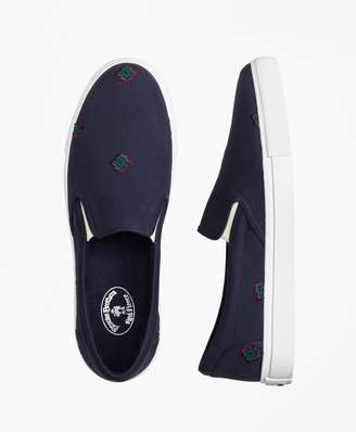 Brooks Brothers Medallion-Embroidered Slip-On Sneakers