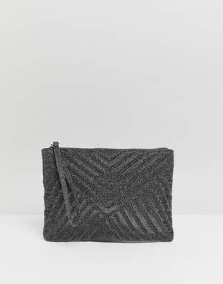 Asos Design DESIGN quilted zip top clutch bag