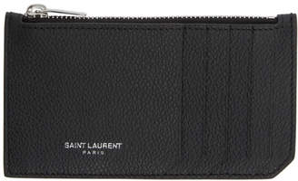 Saint Laurent Black Zipped Fragments Card Holder