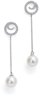 Bloomingdale's Cultured Freshwater Pearl & Diamond Swirl Drop Earrings in 14K White Gold - 100% Exclusive