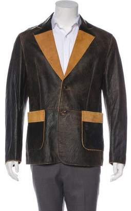 Just Cavalli Leather Button-Up Jacket w/ Tags