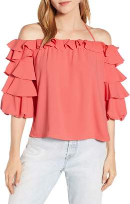1 STATE 1.STATE Tiered Ruffle Sleeve Blouse