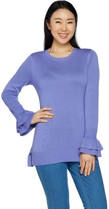 Isaac Mizrahi Live! Ruffle Bell Sleeve Tunic Sweater