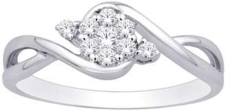 Saris and Things 10K White Gold 0.17 Ct.tw. Diamond Flower Ring