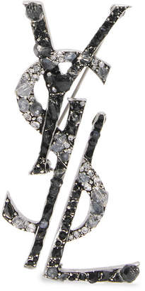 Saint Laurent Ruthenium-plated, Crystal And Enamel Brooch - Silver