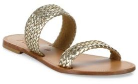 Joie Sable Woven Metallic Leather Slides $158 thestylecure.com