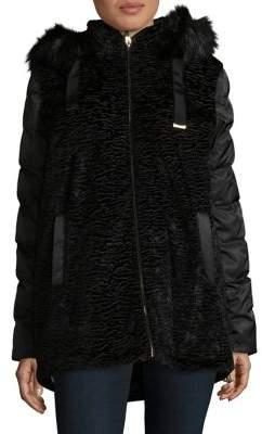 Via Spiga Hooded Faux Fur Puffer Coat