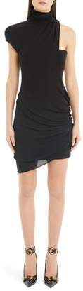 Versace First Line Shoulder Cutout Jersey Dress