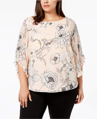 Calvin Klein Plus Size Printed Ruffle-Sleeve Blouse