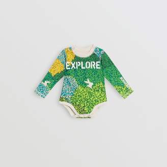 Burberry Childrens Explore Graphic Print Cotton Bodysuit