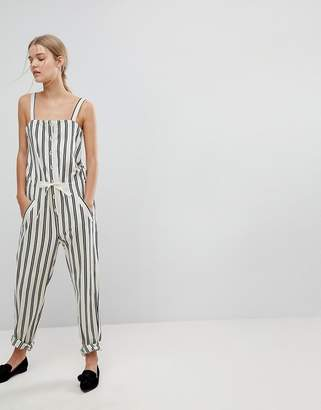 Max & Co. Max&Co Striped Button Front Jumpsuit