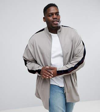 Asos PLUS Oversized Longline Jersey Track Jacket In Velour Stripe