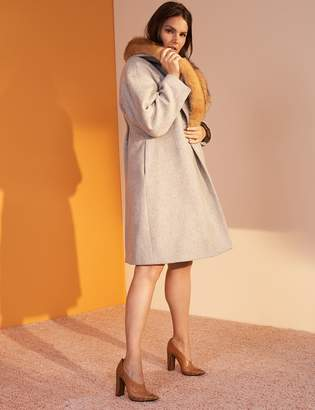 Wool Blend Coat by Prabal Gurung with Faux Fur Collar