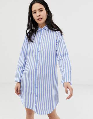 Hey Peachy stripe revere pyjama nightdress in blue