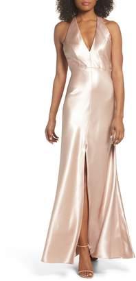 Jenny Yoo Corrine Satin Crepe Halter Gown